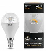 Gauss LED 6w-2700-E14-D шар лампа диммируемая