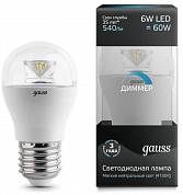 Gauss LED 6w-4100-E27-D шар лампа диммируемая